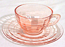 Depression Glass - Hocking Block Optic - Cup & Saucer Sets