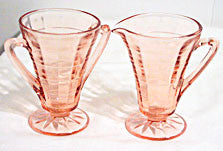 Depression Glass - Hocking Block Optic - Pink Cream & Sugar