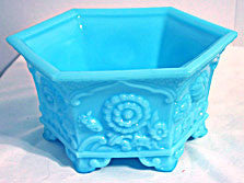 Fenton - Blue Glo -  Hexagon Planter