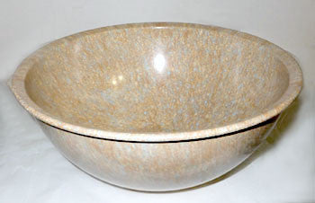 Brookpark - Texas Ware / Confetti Bowl - Tan w/ Cream & Turquoise Spatters 12""