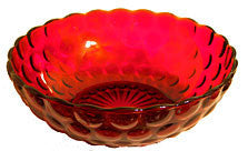 Anchor Hocking - Bubble - Royal Ruby - Large Berry / Serving Bowl 8""