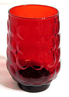 "Anchor Hocking - Bubble - Royal Ruby - Tumblers 4 1/2"" - Lot of 3"