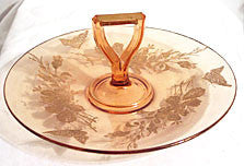 Lotus - Butterfly - Golden Sapphire - Center Handled Sandwich Tray - 10""