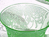 Elegant Glass - Cambridge - Byzantine - Green Cup and Saucer Sets - Lot of 2