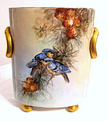 "Heinrich Porcellain, Germany - Hand Painted Cache Pot - Blue Birds & Pine Cones 9 1/2"" High"