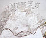 Cambridge No.760 Etch (Rose in Stippled Snow) - Candle Holders & Bowl - Console set