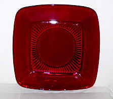 "Anchor Hocking - Fire King - Charm - Royal Ruby - Square Luncheon Plates 8 1/4"" - Lot of 4"