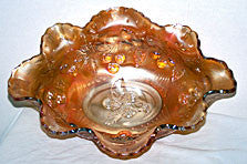 "Carnival Glass - Dugan - Wreathed Cherry - Marigold Bowl 13"" x 11"""