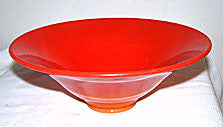 Northwood - Chinese Coral - Rainbow Line - Red Flared Bowl 9 1/4""