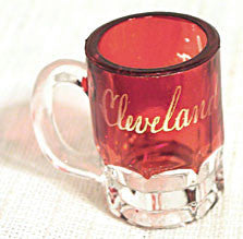 Ruby Flashed Miniature Mug - Souvenir of Cleveland Ohio