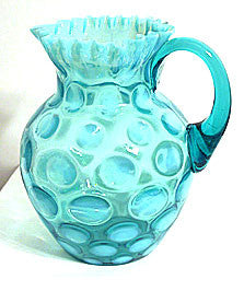 Northwood - Coin Dot or Coinspot - Blue Opalescent - Jug / Pitcher