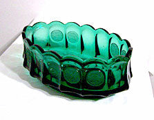 "Elegant Glass - Fostoria - Coin - Emerald Green - Oval Bowl - 9"" x  5 1/2"""