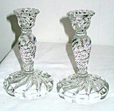 "Elegant Glass - Fostoria - Colony - Candlesticks 6.5"" - Pair"
