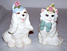 "Cordelia China - Cat & Dog Figurines - 1940s - 4 1/2"" & 5"" Tall"