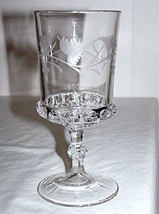 "EAPG - Ripley & Co / US Glass - Dakota - Water Goblet 6 1/2"" - w/ Fern & Berry Engraving"
