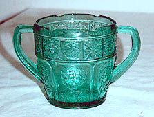 Depression Glass - Jeannette - Doric & Pansy - Pretty Polly Child's Teal Sugar Bowl 2 1/2""