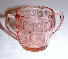 Depression Glass - Jeannette - Doric & Pansy - Pretty Polly Child's Pink Sugar Bowl 2 1/2""
