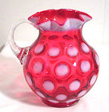 L.G. Wright - Coin Dot - Cranberry Opalescent - Milk Pitcher 6""