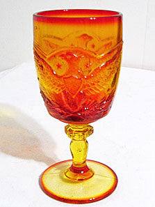 "L E Smith - Eagle & Sheild - Amberina / Flame - Goblets 6 3/4"" - Lot of 6"