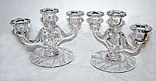 "Elegant Glass - Cambridge - Elaine - Triple Light Corinth Candle Holders 8"" Wide"