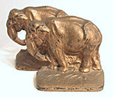 Bookends - Gold Painted Cast Iron  Elephants