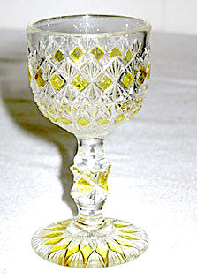 EAPG - King Glass - Finecut & Block - Cordial w/ Yellow Flashing 3 3/8""
