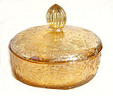 Jeannette - Floragold / Louisa - Carnival - Covered Cheese / Candy Dish 6 3/4""