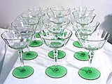 "Champagnes or Tall Sherbets- Clear w/ Green Foot 5 7/8"" - Lot of 12"