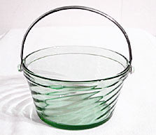 Elegant Glass - Fostoria - Spiral Optic - Whipped Cream Pail - Green - w/ Metal Handle