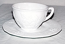 Indiana Glass - Harvest Grape - Milk Glass  - Cup & Saucer Sets - Lot of 5