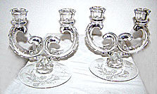 Elegant Glass - Fostoria - Heather - Double Century Candleholders 7""