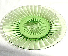 "Elegant Glass - Ridge & Star - Green Salad Plates 7 1/2"" - Lot of 2"