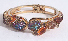 Clamper Bracelet - Hinged Bangle w/ Multi-colored Rhinetones