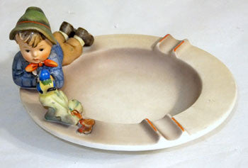 "Goebel - Hummel - Boy w/ Bird Ashtray - #166 - 6 1/4"" - TMK3"