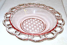 Elegant Glass - Lancaster - Open Work w/ Cane Center - Pink Bowl 9""