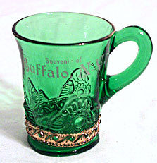 EAPG - US Glass - Lacy Medallion - Souvenir of Buffalo Mug  w/ Gold - 3 3/4""