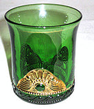"EAPG - US Glass - Lacy Medallion - Emerald Green Tumbler 3 1/2"" - Mother 1911"
