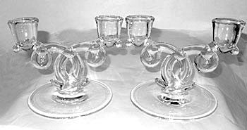 "Elegant Glass - Heisey - Lariat - Double Light Candlesticks 6 1/2"" wide"