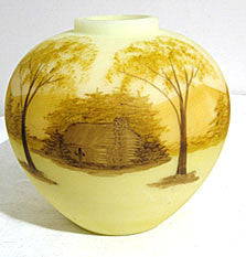 "Fenton - Log Cabin - Yellow Custard Satin - 6"" Ginger Jar Only"