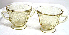 Depression Glass - Federal Madrid - Amber Cream & Sugar Set