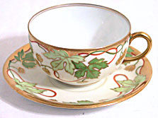 Paroutaud Freres - Maple Leaves - Cup & Saucer - Limoges