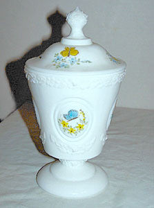 Fenton - Butterflies - Hand Painted - Milk Glass - Medallion Candy Box - Artust D Barbour