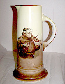 French China Co - Monk Playing Violin - Tankard / Pitcher 11 1/4""