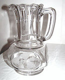 "EAPG - Ripley & Co / US Glass - Nail - Water Pitcher 9"" - w/ Leaf Engraving"