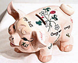Napco - Pink Pig w/ Sayings - Pottery Still Bank