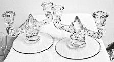 New Martinsville - Elegant Glass - Double Candleholders Pair.