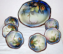 "Nippon - 7pc Hand Painted Nut Set - Lg Bowl 7 3/4"" - Sm Bowls 3 1/4"""