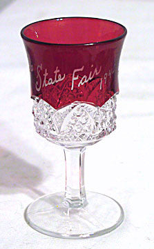 Ruby Stained Button Arches - Souvenir Wine - Ohio State Fair 1940