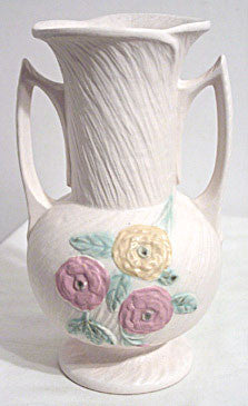 Hull Pottery - Open Rose or Camellia - Vase - No. 119 - 8.5""