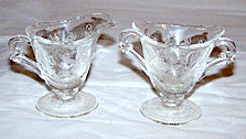"Elegant Glass - Heisey - Orchid - Individual Waverly Creamer & Sugar Set - 3"" High"